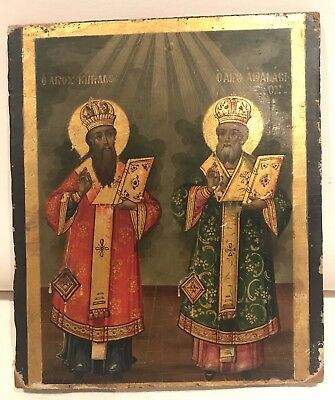 WOW! Large Original Antique Russian Icon Painting Orthodox Gold Wood Wooden NR!