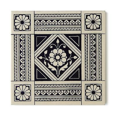 Antique Tile Victorian Mintons Aesthetic Arts Crafts English Floral Black Buff