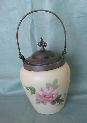 1800s Antique Victorian Satin Milk Glass Biscuit Jar w/Hand Painted Pink Flowers