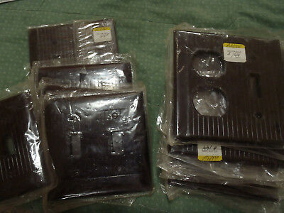 2 Vintage Leviton Ribbed Brown Switch Outlet Plate Covers in package $.50 each