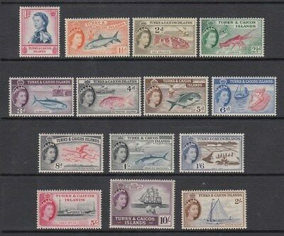 TURKS & CAICOS IS. 1957 QEII DEFIN SET (x14) MINT (ID:G3726)