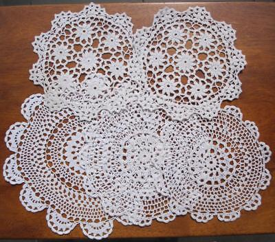 Five Hand Crochet DOILIES x2sets x1similar in White Cotton Thread