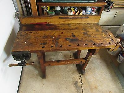 Antique carpenters workbench center island bar w/ Abernathy vise & lg wood screw
