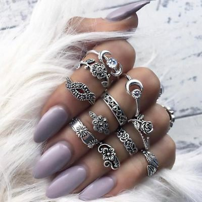 11pcs/Set Bohemian Vintage Style Stack Rings Above Knuckle Midi