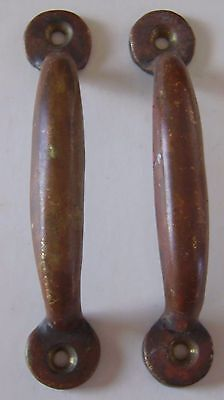 Antique Pair of Small Screen Door Handles or Window Pulls - Solid Brass
