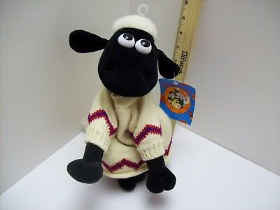 """Wallace & Gromit 'Shaun the Sheep' A Close Shave plush toy NWT 10"""" tall 1989"""