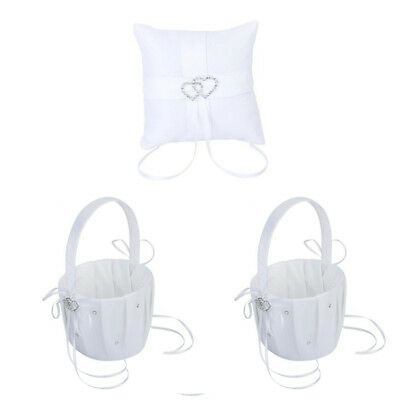 2x White Flower Girl Basket Crystal Rhinestone Decor and Bag ring cushions