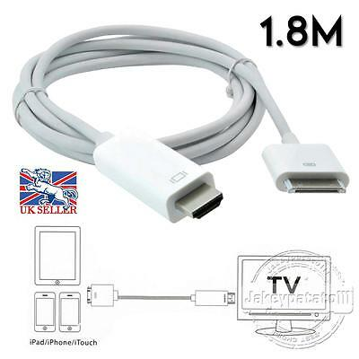 30Pin 6FT Dock Connector to HDMI TV Cable Adapter for iPad 1/2/3 iPhone 4s UK