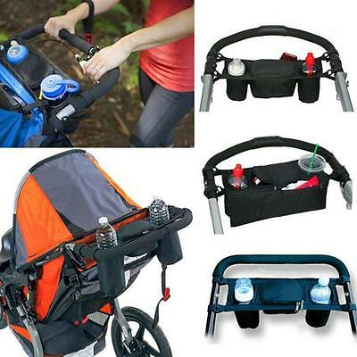 Pram Pushchair Stroller Bottle Cup Holder Buggy Organiser Drink Food Storage  ts