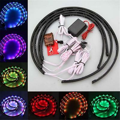 4x LED 7 Color Strip Under Car Tube Underglow Underbody System Neon Light Kit ts