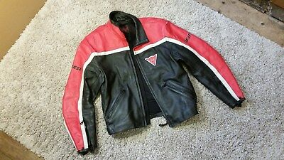 DAINESE black red leather road race motorcycle motorbike jacket armour size 54