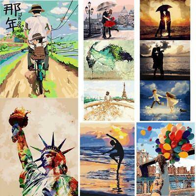 "20""*16"" Paint By Number Kit Digital Oil Painting Canvas Lovers on Beach DIY"
