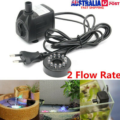 240/420L/H Submersible Fountain Aquarium Fish Pond Water Pump LED Changing Light