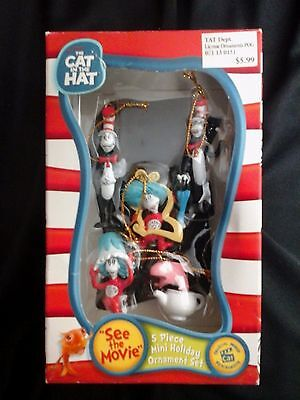 Dr. Seuss The Cat In The Hat 5 Piece Mini Holiday Ornament Set New In Box