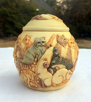 "NEW JARDINIA Felinicity by Martin Perry Harmony House 3.75"" CATS Trinket Jar"