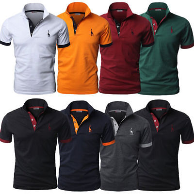 Stylish Men Slim Fit POLO Shirts Solid Short Sleeve Casual T-shirt Work Tee Top