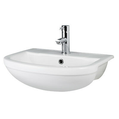Premier Harmony 500mm Wide Semi Recessed Counter Top Basin - 1 Tap Hole