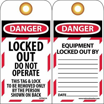 "NMC LOTAG34 Lockout Tag, ""DANGER, LOCKED OUT DO NOT OPERATE"", 3"" Width x 6"" Heig"