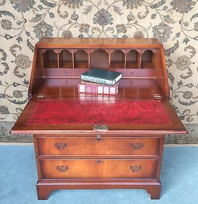 A Good Antique Style Bureau ~ Fitted Interior ~ Leather Inset
