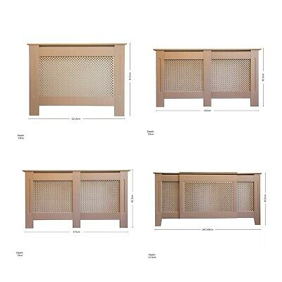 Radiator Cover Traditional Diamond Cross MDF Wood Grill Cabinet - Unpainted