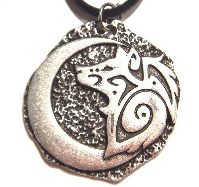 SILVER TRIBAL WOLF & CRESCENT MOON MEDALLION PENDANT necklace spirit totem W2
