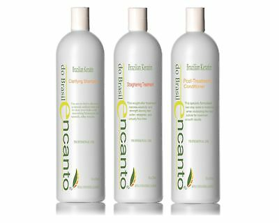 Encanto Brazilian Keratin Hair Straightening BLOWOUT HAIR KIT 3x236ml DE