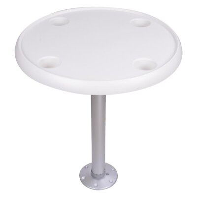 "New 24"" Round ABS Marine Boat table with 2x Cup Holders for Boat Fishing white"
