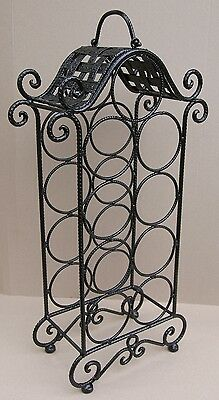 9 Bottle Wine Rack - BLACK - Wrought Iron  - FREE SHIPPING