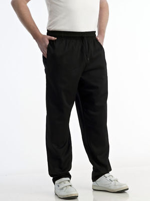 Chef Trousers Plain Black Chef Pants Uniform Unisex Elasticated Work Kitchen