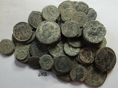 Lot of 50 Quality Uncleaned Ancient Roman Coins; 208 Grams!