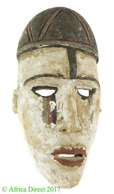 Bakongo Mask Villi Painted White Congo African Art  SALE WAS $75