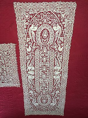 Antique Handmade Needle Lace 8pc Table Set Runner 7 Placemats Winged Griffins