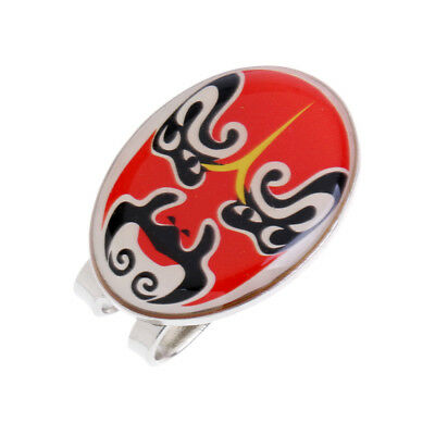 New Magnetic Hat Clip with Peking Opera Mask Golf Ball Marker - Red