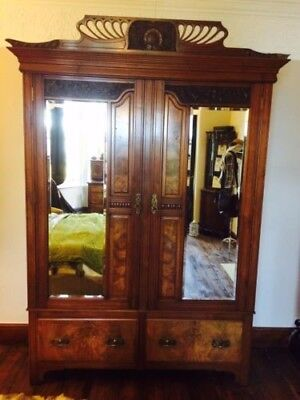Large Antique Burr Walnut Double Wardrobe Mirrored Doors Two Drawer