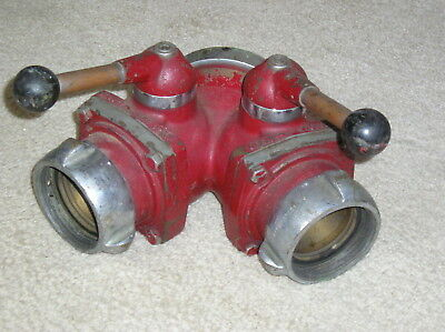 "Vintage Akron Fire Dept 2 1/2"" Wye Ball Valve 2 1/2 Male to (2) 2 1/2 Female NH"