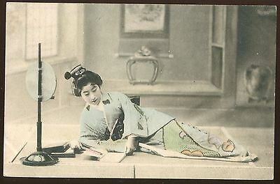 JAPANESE VINTAGE PHOTO POSTCARD Girl 1910-1920s  hand colored tinted