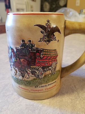 Anheuser Busch AB Budweiser  Bud Holiday Christmas  stein 1980 Rare Green Cases