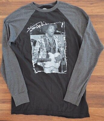 Authentic Jimi Hendrix Long Sleeve Baseball Style Tee T-Shirt Size Medium Guitar