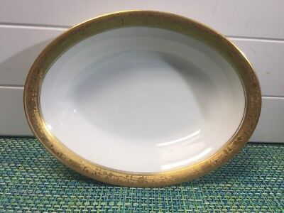 """Hutschenreuther Gelb  LHS Gold Encrusted Oval Vegetable Serving Bowl 10 x 7 5/8"""""""