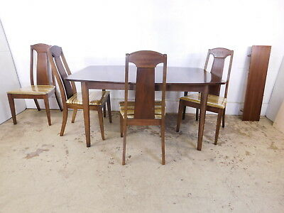 Retro Dining Set Mid Century Modern Walnut Extension Surfboard Table w 4 Chairs