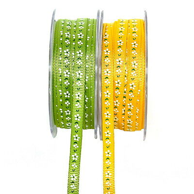 Ribbon Acetate ribbed with flowers 10mm/ 20 Mead