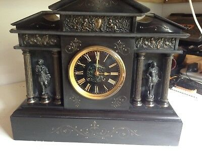 Clock Antique French Slate mantle clock 1800/1900