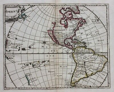Original antique map NORTH & SOUTH AMERICA, INSULAR CALIFORNIA, Cluver, c.1697