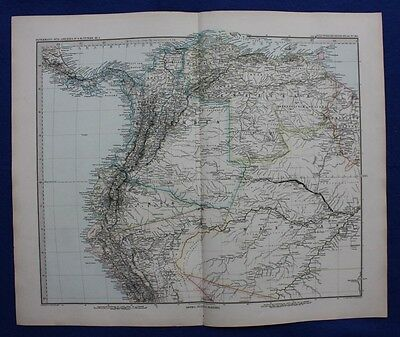 SOUTH AMERICA, COLUMBIA, VENEZUELA, ECUADOR, original antique map, Stieler 1881