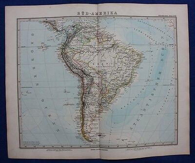 SOUTH AMERICA, BRAZIL, ARGENTINA, CHILE, original antique map, Stieler 1881