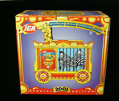 2001 IGA Circus Daze Special Edition Cookie Jar - New in Box / Giraffes & Zebras