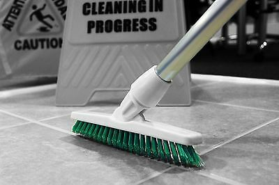 Grout Cleaning Angled Brush Long Handled Stiff Bristle Deck Floor Tile Scrub Yel