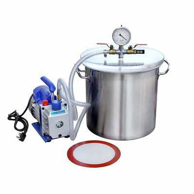 New Pump Kit 5 Gallons Stainless Steel Vacuum Degassing Chamber Set with 3 CFM