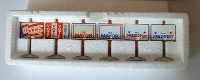 "NEW Department 56 Snow Village ""Village Election Yard Signs"" #52599 Set of Six"