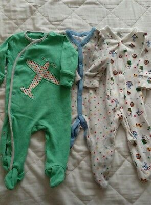 3 x Next baby boys sleepsuits size 3-6 months